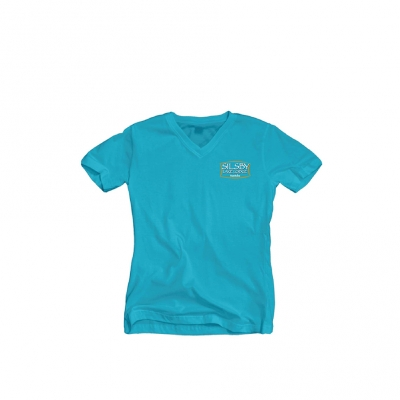 Ladies V-neck Tee - Aqua